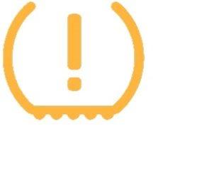 Gelbe Warnleuchte + Leuchte auf dem Display mit Pfeil nach unten